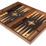 Manopoulos Tiger Striped Ebony Backgammon Set – Large