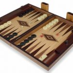Manopoulos Walnut & Oak Backgammon Set with Black & Walnut Points – Large