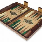 Manopoulos Walnut & Oak Backgammon Set with Green & Walnut Points – Large
