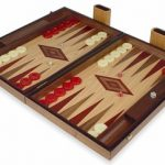 Manopoulos Walnut & Oak Backgammon Set with Red & Walnut Points – Large