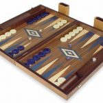 Manopoulos Walnut Backgammon Set with Blue & Maple Points – Large