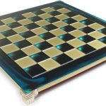 Brass & Blue Chess Board – 1.375″ Squares