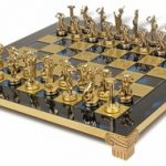 Giants Battle Theme Chess Set Brass & Nickel Pieces – Blue Board