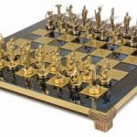 Hercules Theme Chess Set Brass & Nickel Pieces – Blue Board