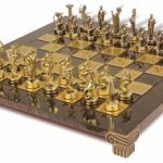 Hercules Theme Chess Set in Brass & Nickel – Brown Board