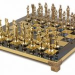 Renaissance Theme Chess Set Brass & Nickel Pieces – Blue Board