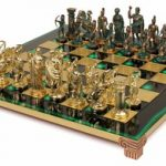 Archers Theme Chess Set Antiqued Green Copper & Brass Pieces – Green Board