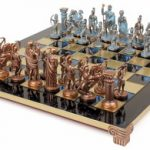 Archers Theme Chess Set Antiqued Blue Copper & Copper Pieces – Blue Board