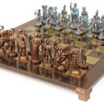 Archers Theme Chess Set Package Antiqued Blue Copper & Copper Pieces – Brown Board