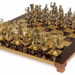 Archers Theme Chess Set Brass & Nickel Pieces – Red Board