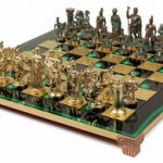 Romans Theme Chess Set Antiqued Green Copper & Brass Pieces – Green Board