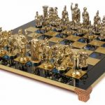 Romans Theme Chess Set Brass & Nickel Pieces – Blue Board