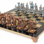 Romans Theme Chess Set Antiqued Blue Copper & Copper Pieces – Blue Board