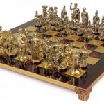 Romans Theme Chess Set Brass & Nickel Pieces – Red Board