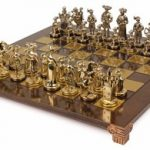 Knights Theme Chess Set Brass & Nickel Pieces – Brown Board