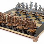 Knights Theme Chess Set Antiqued Blue Copper & Copper Pieces – Blue Board