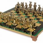 Knights Theme Chess Set Brass & Nickel Pieces – Green Board