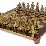 Knights Theme Chess Set Brass & Nickel Pieces – Red Board