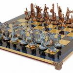 Poseidon Theme Chess Set Antiqued Blue Copper & Copper Pieces – Blue Board