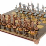 Poseidon Theme Chess Set Antiqued Blue Copper & Copper Pieces – Brown Board