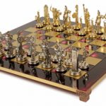 Poseidon Theme Chess Set Brass & Nickel Pieces – Red Board