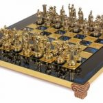 Small Romans Theme Chess Set Brass & Nickel Pieces – Blue Board