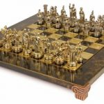 Small Romans Theme Chess Set Brass & Nickel Pieces – Brown Board