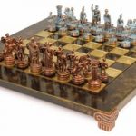 Small Romans Theme Chess Set Antiqued Blue Copper & Copper Pieces – Brown Board