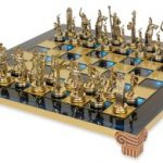Small Poseidon Theme Chess Set Brass & Nickel Pieces – Blue Board