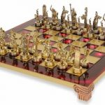 Small Poseidon Theme Chess Set Brass & Nickel Pieces – Red Board