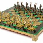 Hercules Theme Chess Set Brass & Antiqued Green Copper Pieces – Green Board