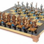 Hercules Theme Chess Set Antiqued Blue Copper & Copper Pieces – Blue Board