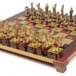 Hercules Theme Chess Set  Brass & Nickel Pieces – Red Board