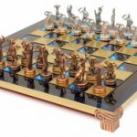 Giants Battle Theme Chess Set Antiqued Blue Copper & Copper Pieces – Blue Board