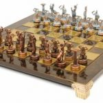 Giants Battle Theme Chess Set Antiqued Blue Copper & Copper Pieces – Brown Board