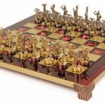 Giants Battle Theme Chess Set Brass & Nickel Pieces – Red Board