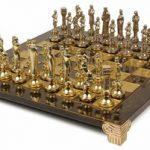 Renaissance Theme Chess Set Brass & Nickel Pieces – Brown Board