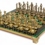 Renaissance Theme Chess Set Brass & Nickel Pieces – Green Board