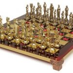 Renaissance Theme Chess Set Brass & Nickel Pieces – Red Board