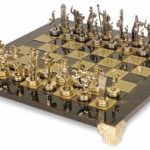 Small Poseidon Theme Chess Set Brass & Nickel Pieces – Brown Board