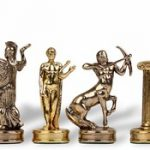 Hercules Theme Chess Set Brass & Nickel Pieces – 2.25″ King