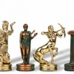 Hercules Theme Chess Set Antique Green Copper & Brass Pieces – 2.25″ King