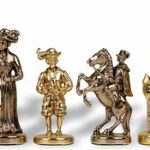 "Knights Theme Chess Set Brass & Nickel Pieces – 3.5 "" King"