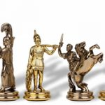 Large Poseidon Theme Chess Set Brass & Nickel Pieces – 4.5″ King