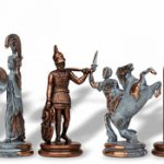 Large Poseidon Theme Chess Set Antiqued Blue Copper & Copper Pieces – 4.5″ King