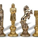 Renaissance Theme Chess Set Brass & Nickel Pieces – 3.25″ King