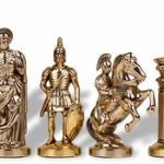 Romans Theme Chess Set Brass & Nickel Pieces – 3.75″ King