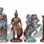 Romans Theme Chess Set Antiqued Blue Copper & Copper Pieces – 3.75″ King