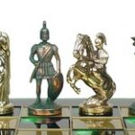 Romans Theme Chess Set Green Antiqued Copper & Brass Pieces – 3.75″ King