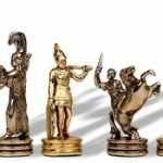 Small Poseidon Theme Chess Set Brass & Nickel Pieces – 2.5″ King